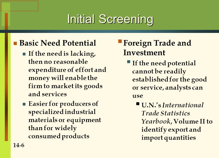 Initial Screening Basic Need Potential Foreign Trade and Investment