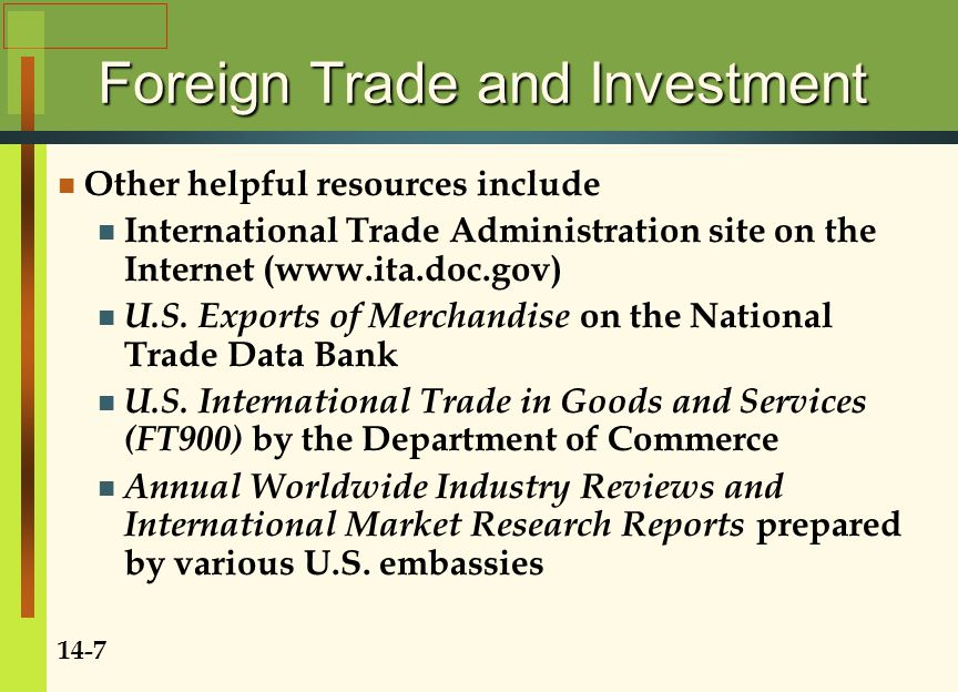 Foreign Trade and Investment