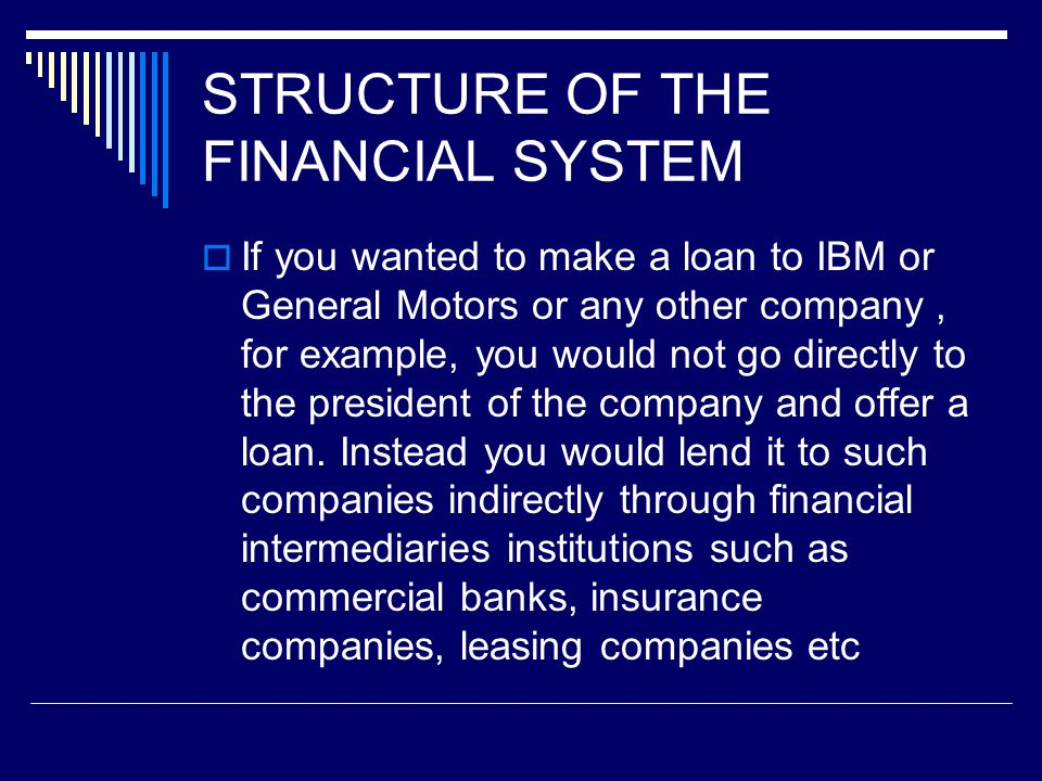 STRUCTURE OF THE FINANCIAL SYSTEM