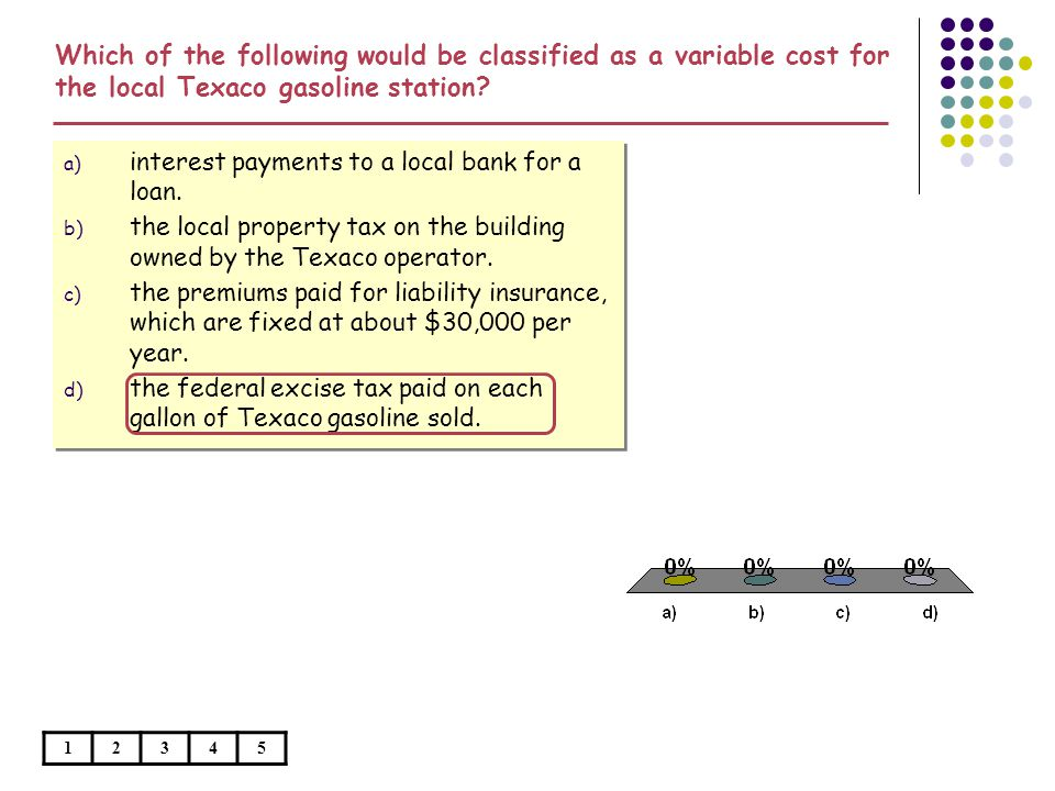 Which of the following would be classified as a variable cost for the local Texaco gasoline station
