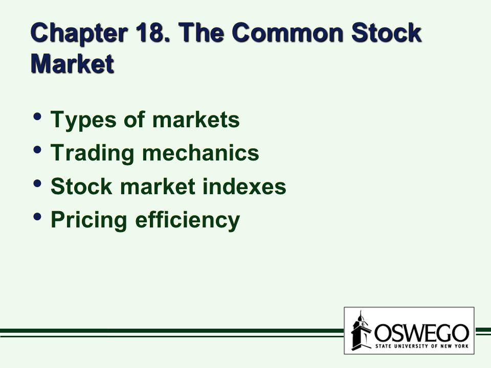 Chapter 18. The Common Stock Market