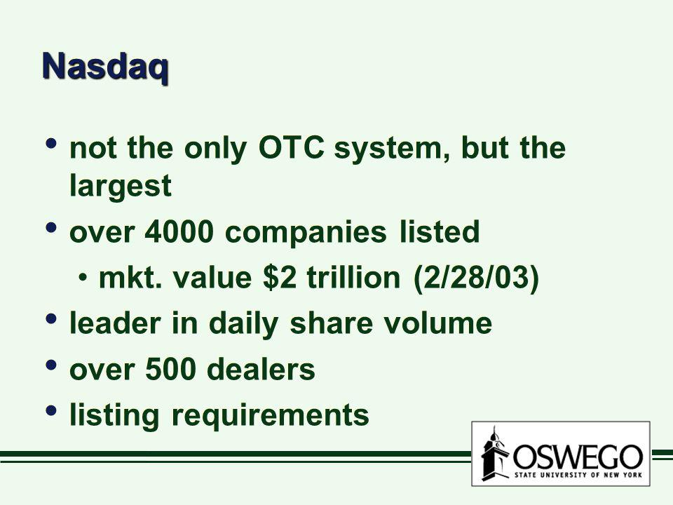 Nasdaq not the only OTC system, but the largest