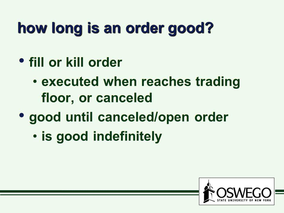 how long is an order good