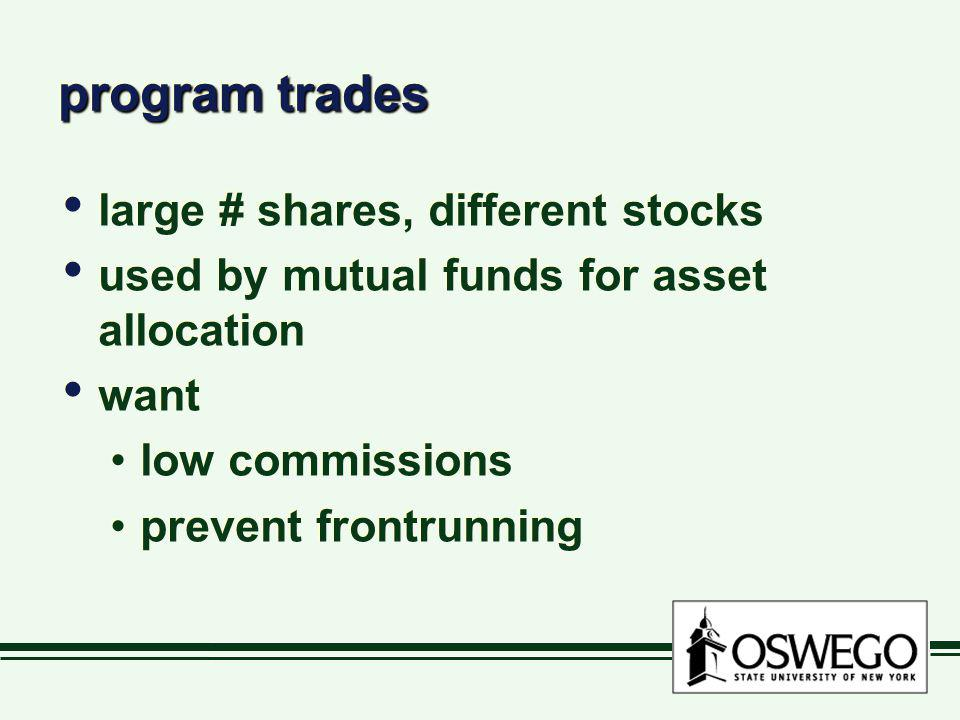 program trades large # shares, different stocks