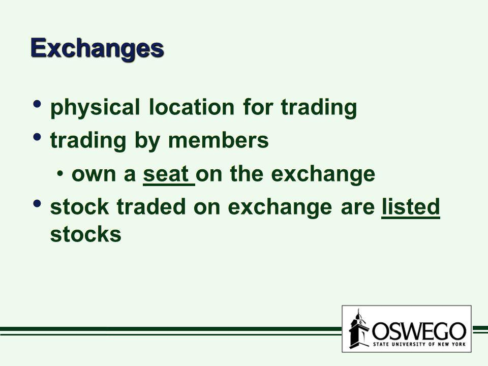 Exchanges physical location for trading trading by members