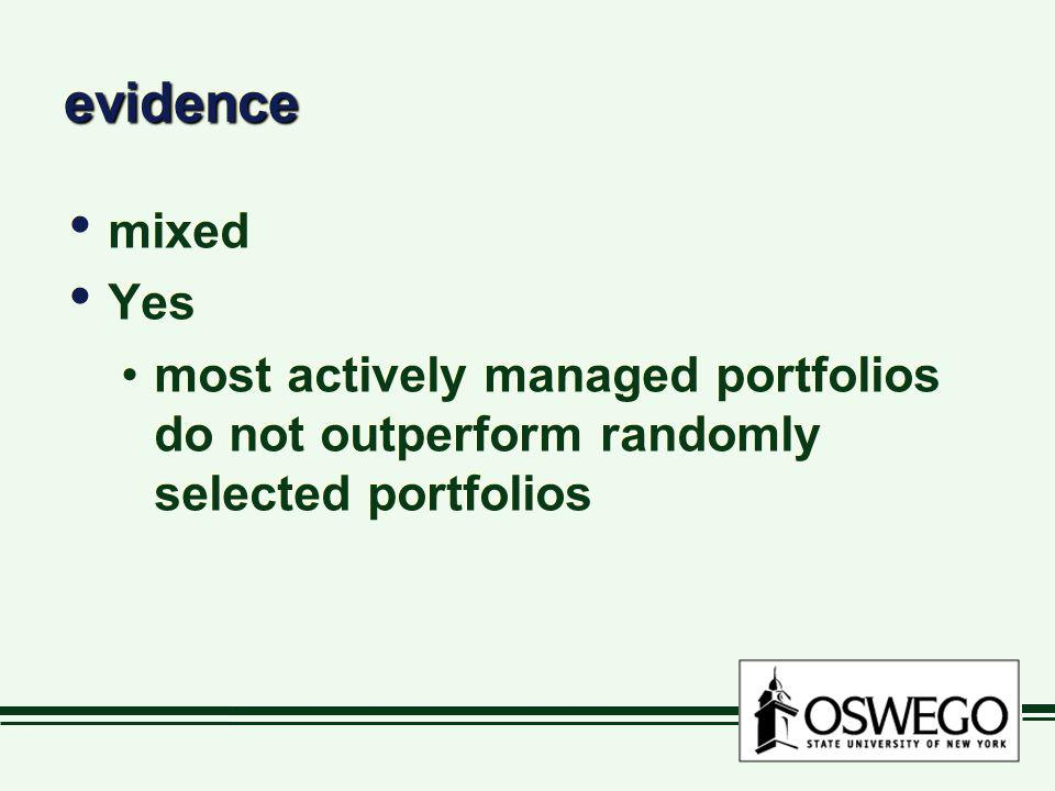 evidence mixed Yes most actively managed portfolios do not outperform randomly selected portfolios