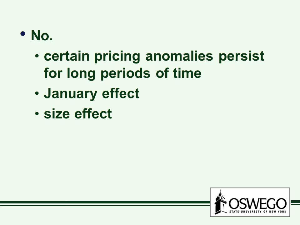 No. certain pricing anomalies persist for long periods of time January effect size effect