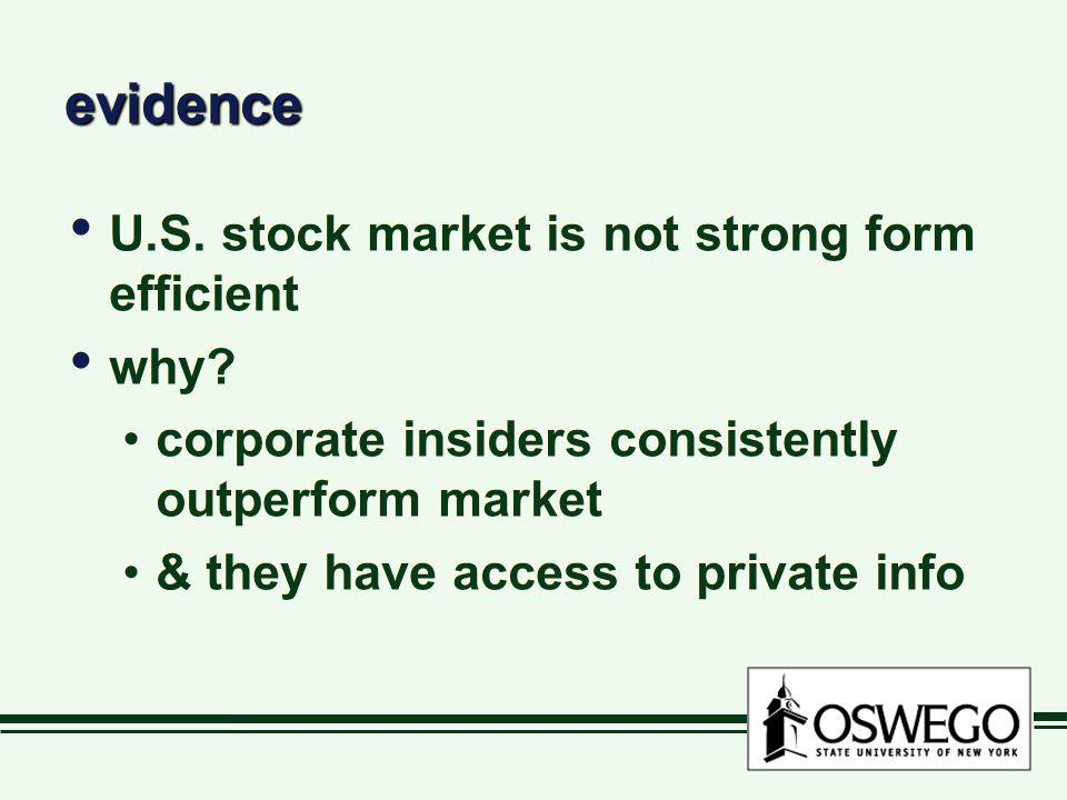 evidence U.S. stock market is not strong form efficient why