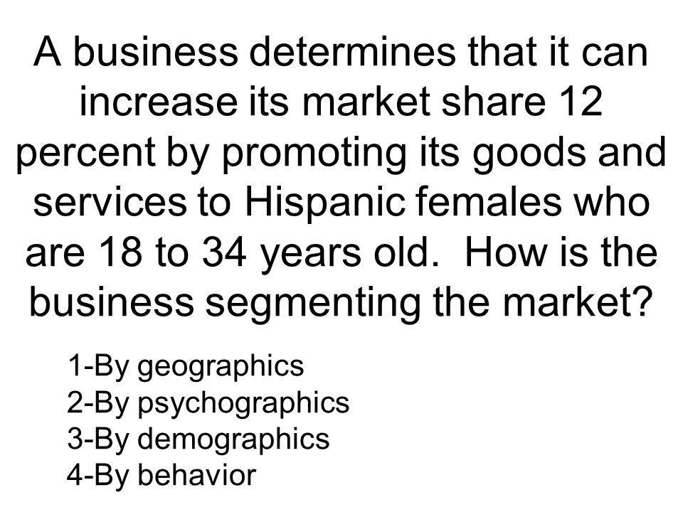 A business determines that it can increase its market share 12 percent by promoting its goods and services to Hispanic females who are 18 to 34 years old. How is the business segmenting the market