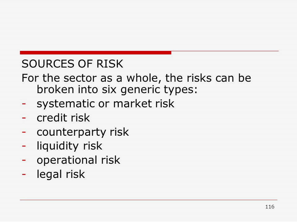 SOURCES OF RISK For the sector as a whole, the risks can be broken into six generic types: systematic or market risk.