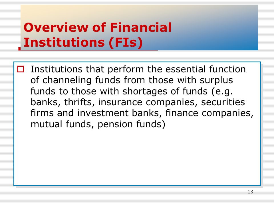 Overview of Financial Institutions (FIs)