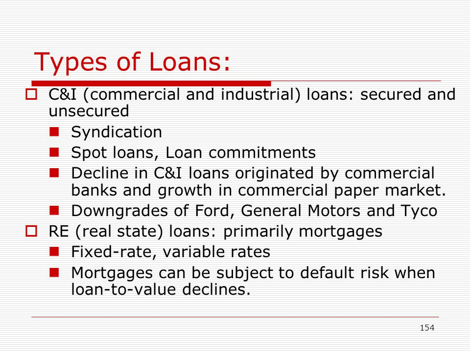 Types of Loans: C&I (commercial and industrial) loans: secured and unsecured. Syndication. Spot loans, Loan commitments.