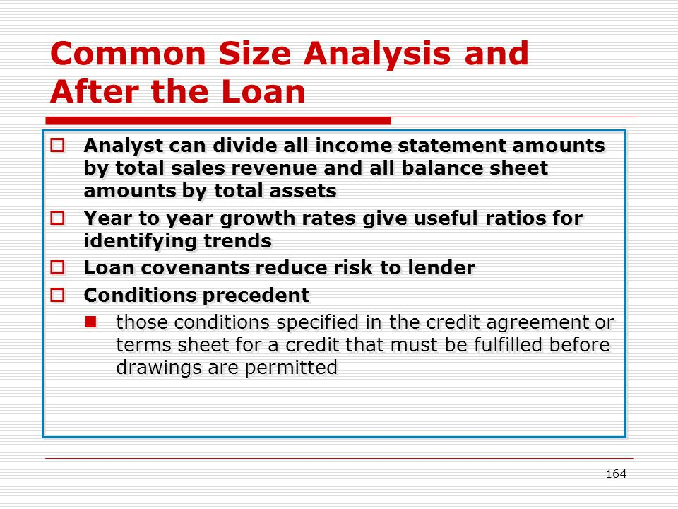 Common Size Analysis and After the Loan