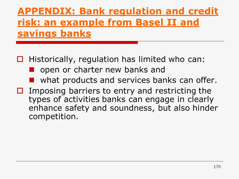 APPENDIX: Bank regulation and credit risk: an example from Basel II and savings banks