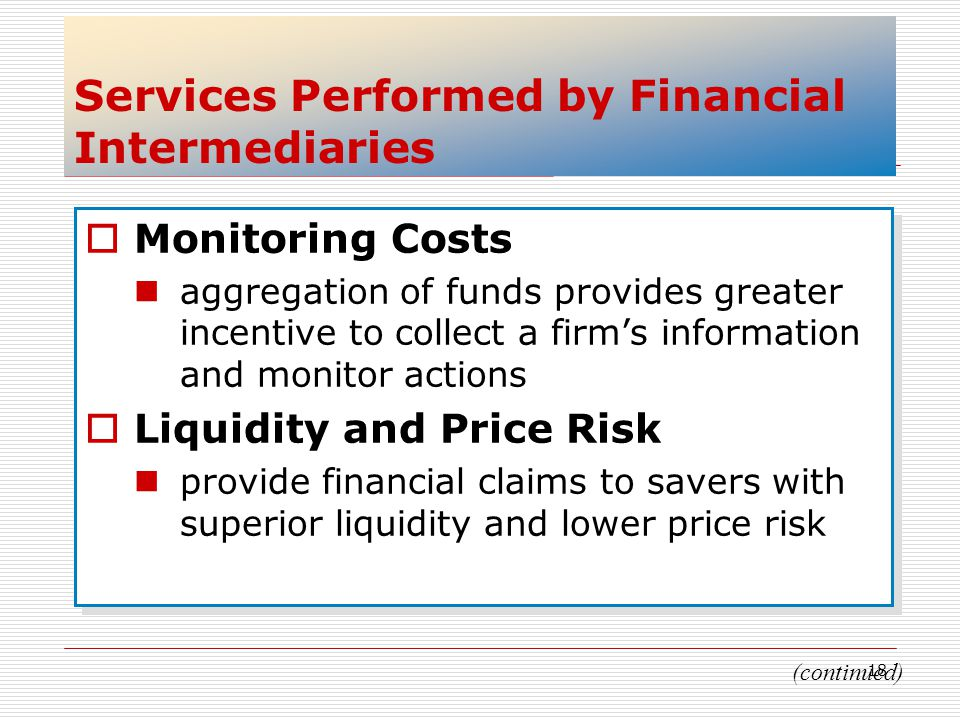 Services Performed by Financial Intermediaries