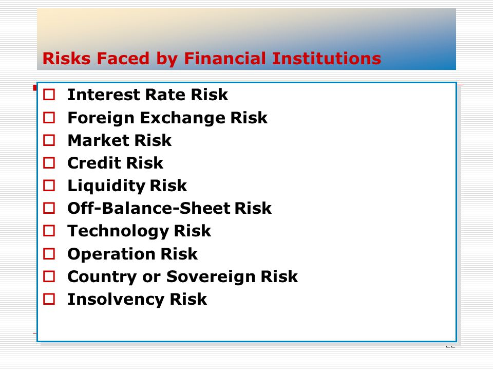 Risks Faced by Financial Institutions