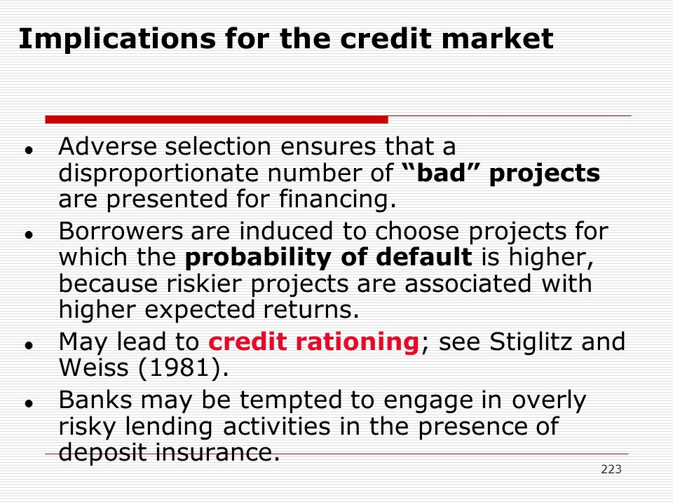 Implications for the credit market