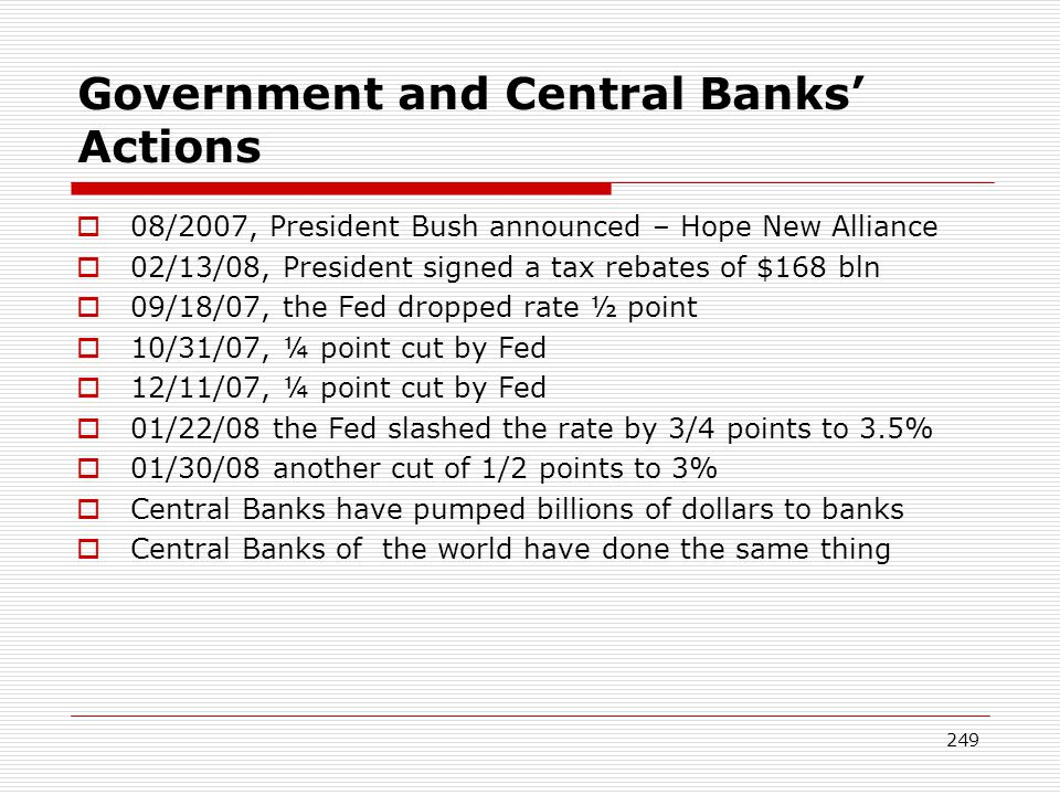 Government and Central Banks' Actions