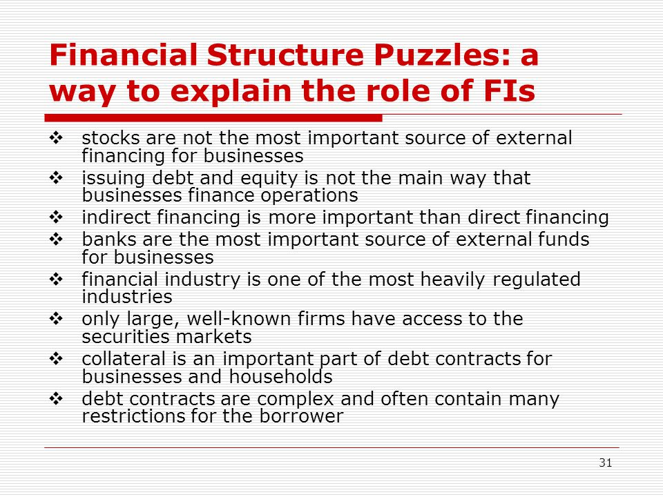 Financial Structure Puzzles: a way to explain the role of FIs