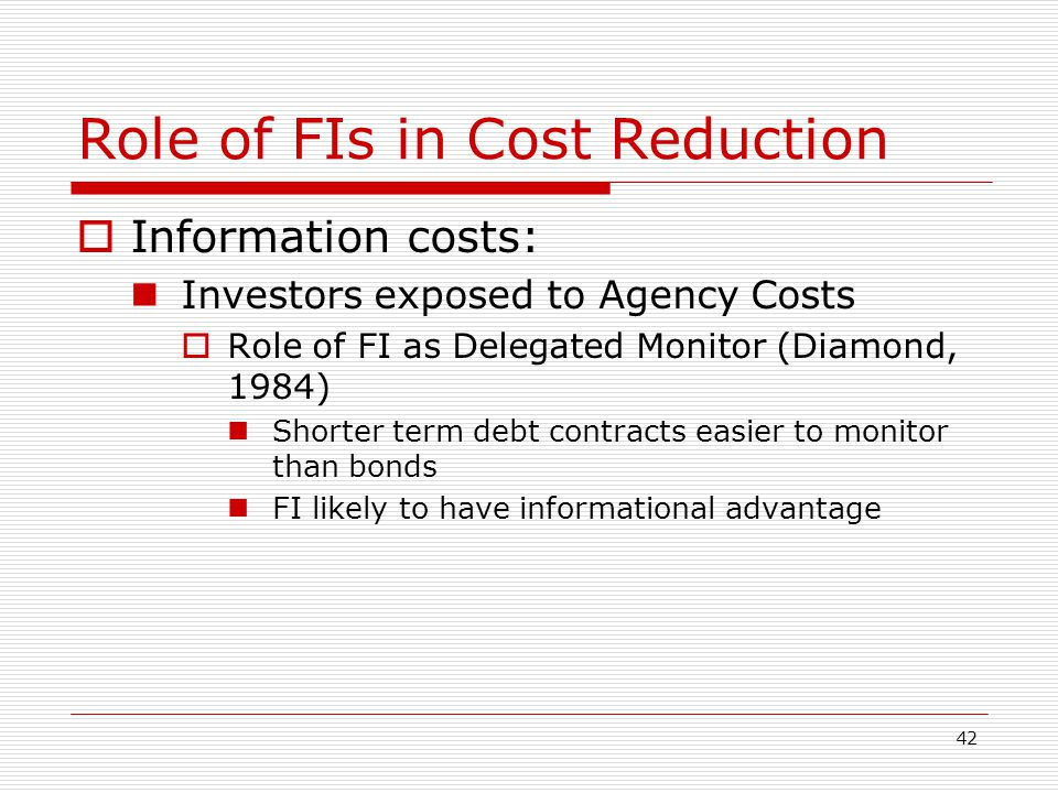 Role of FIs in Cost Reduction