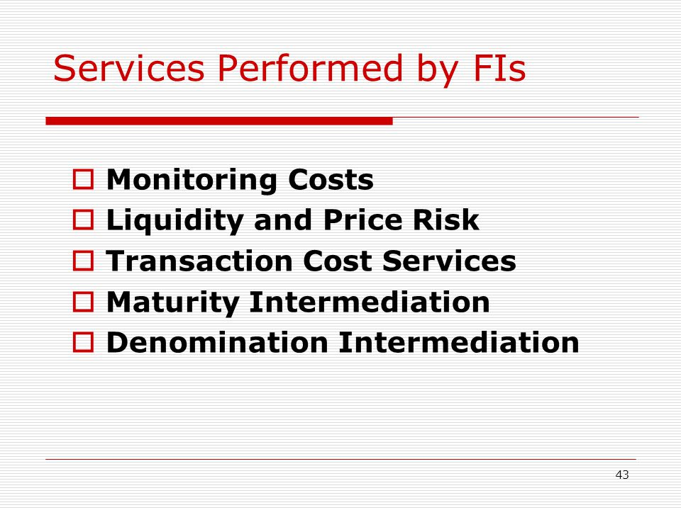 Services Performed by FIs