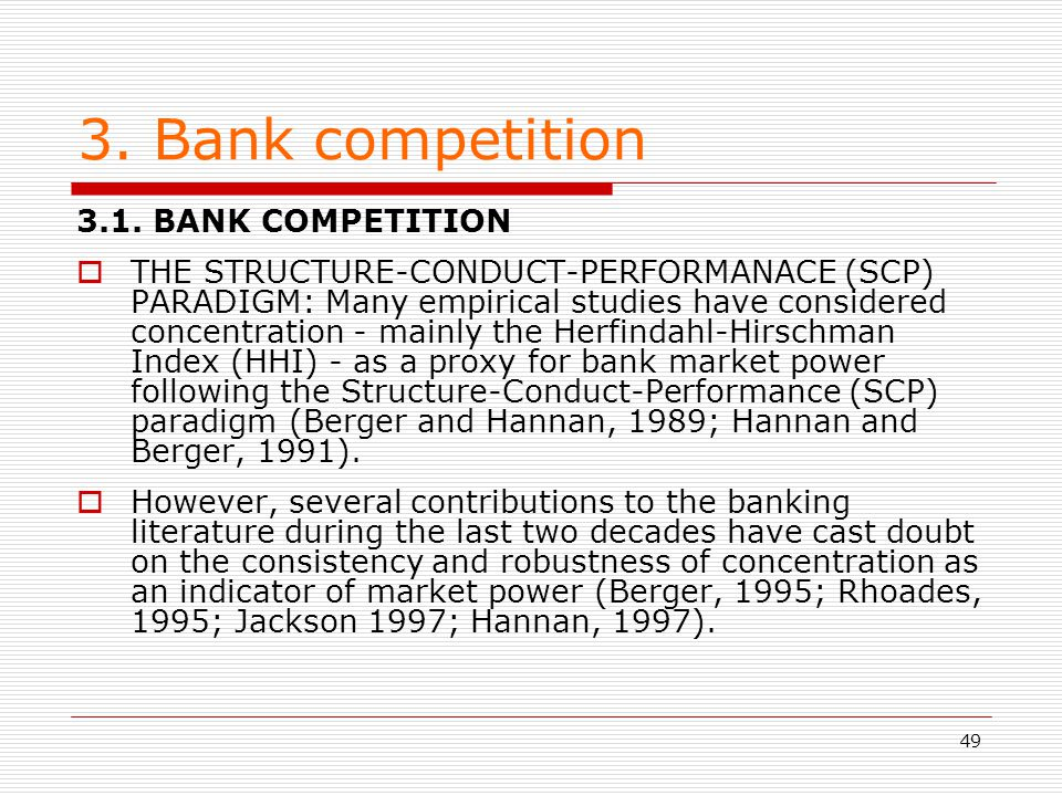 3. Bank competition 3.1. BANK COMPETITION