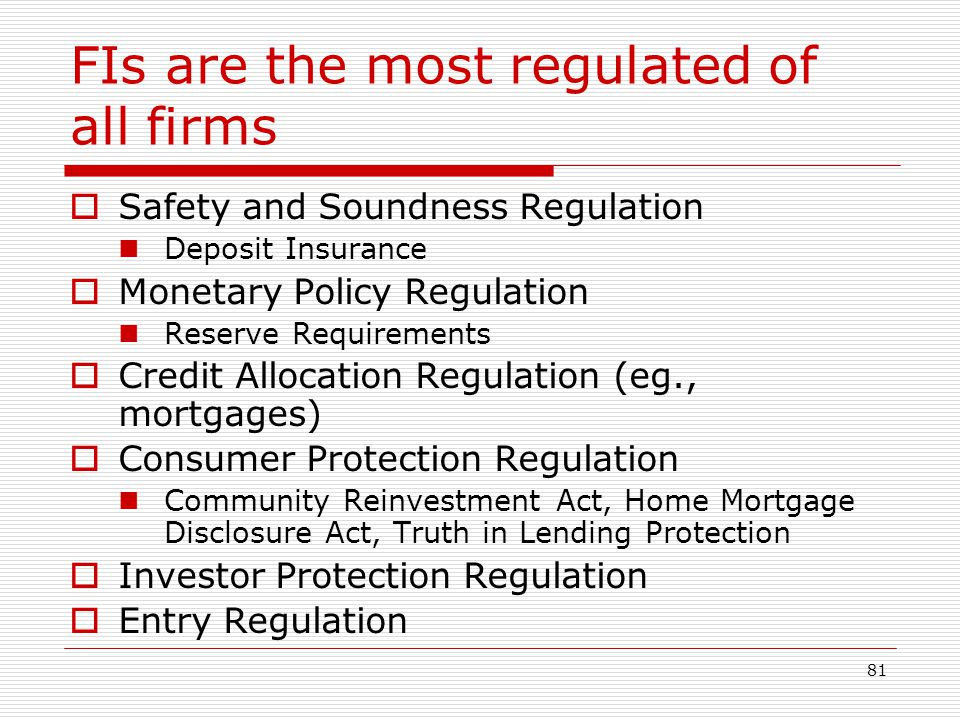 FIs are the most regulated of all firms