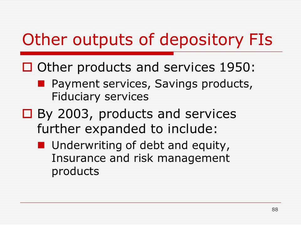 Other outputs of depository FIs