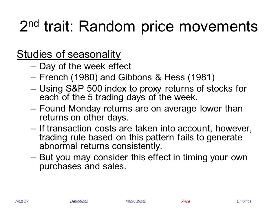2nd trait: Random price movements