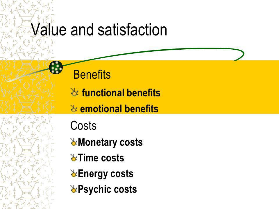 Value and satisfaction