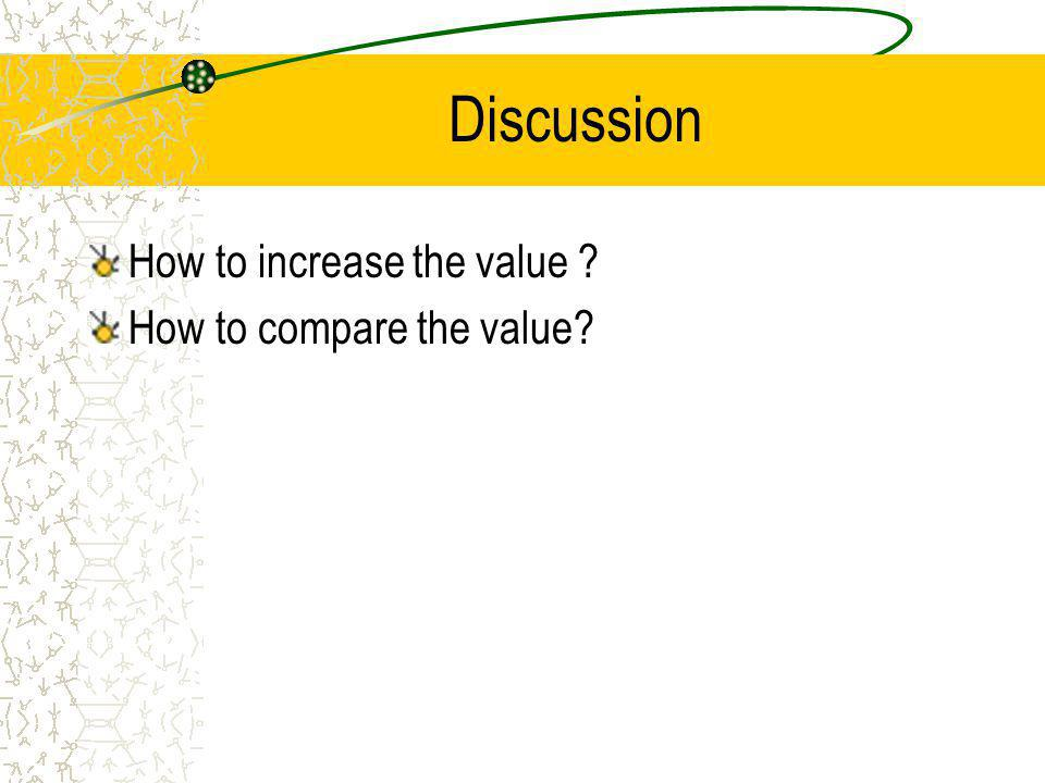 Discussion How to increase the value How to compare the value