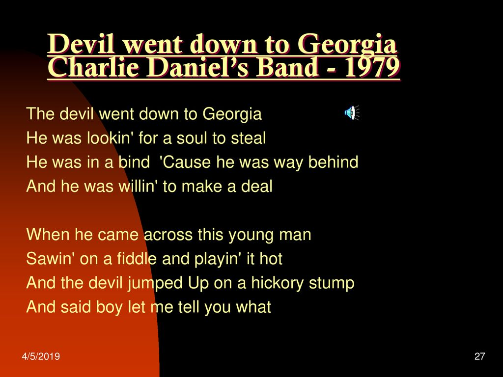 The Devil with the Music Anyway - ppt download