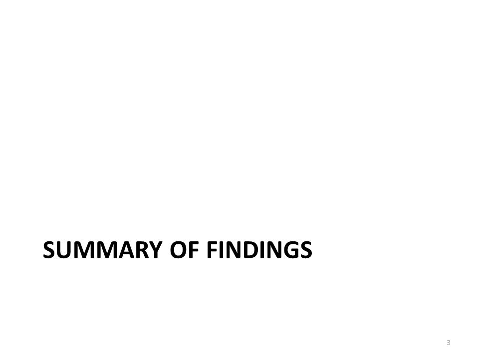 Table of Contents Summary of Findings ……………………………………………… ppt