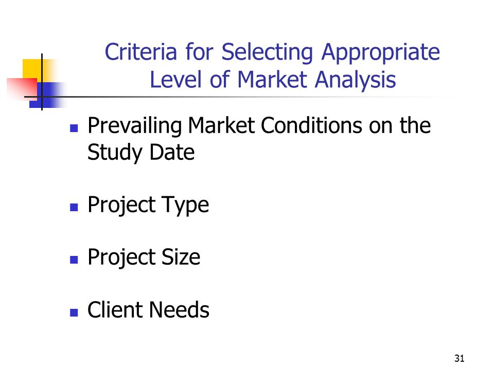 Criteria for Selecting Appropriate Level of Market Analysis
