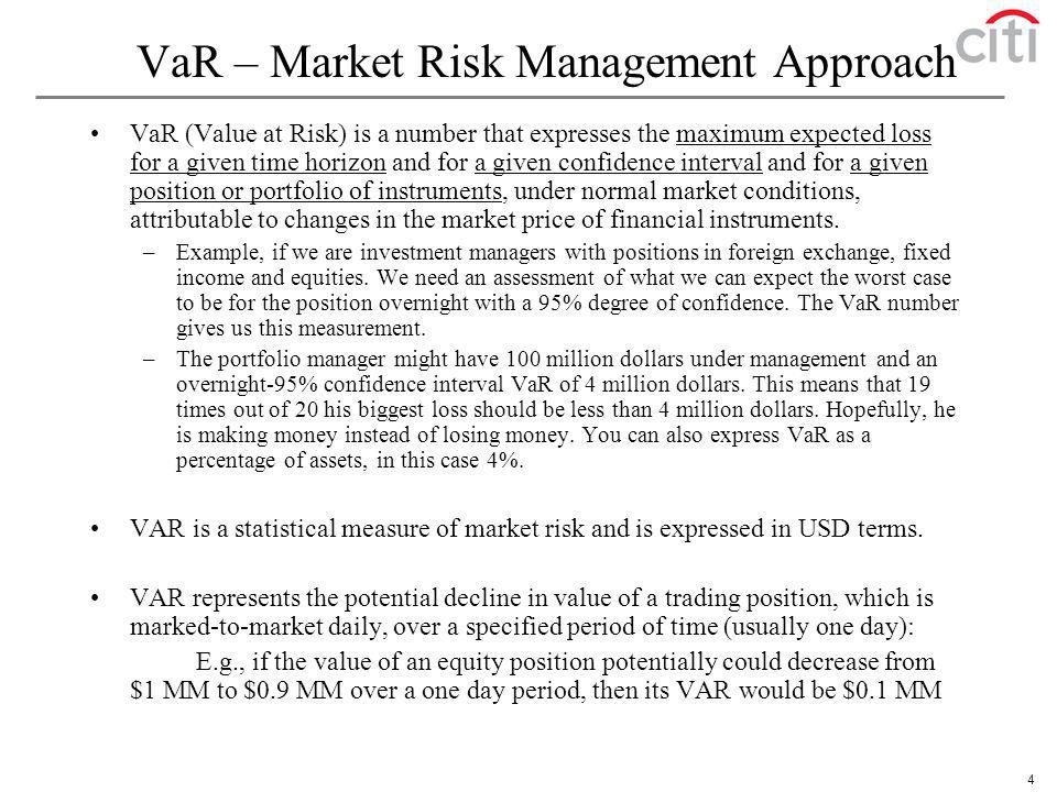 VaR – Market Risk Management Approach