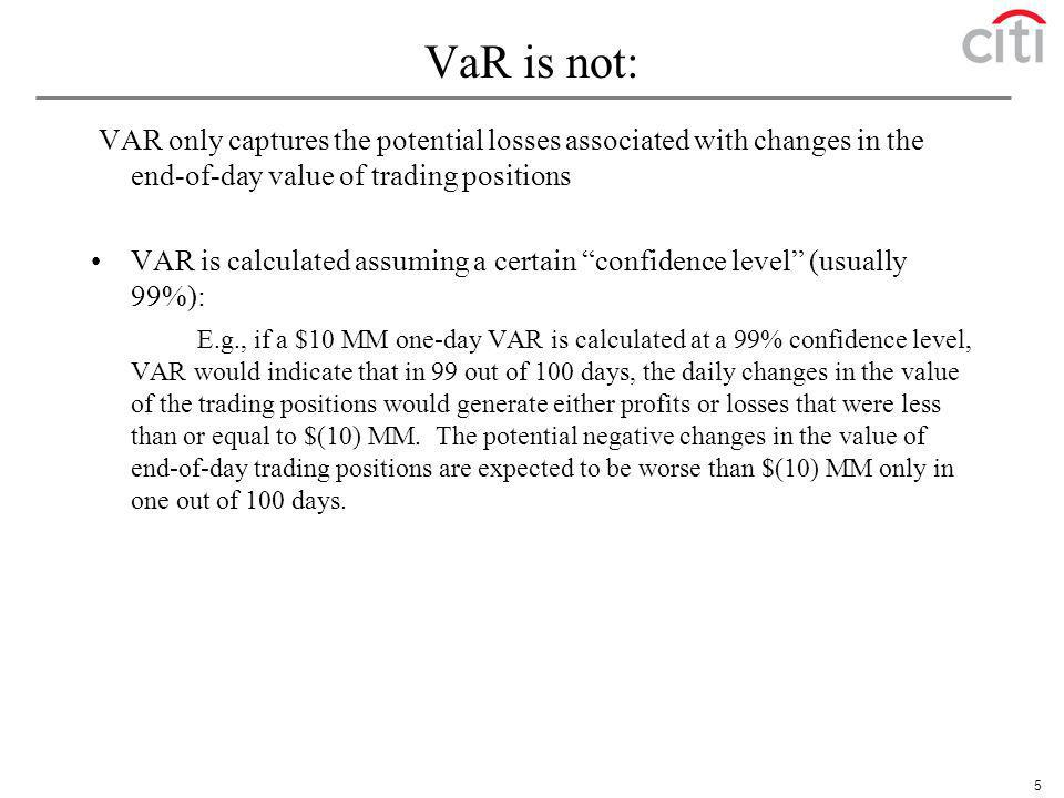 VaR is not: VAR only captures the potential losses associated with changes in the end-of-day value of trading positions.