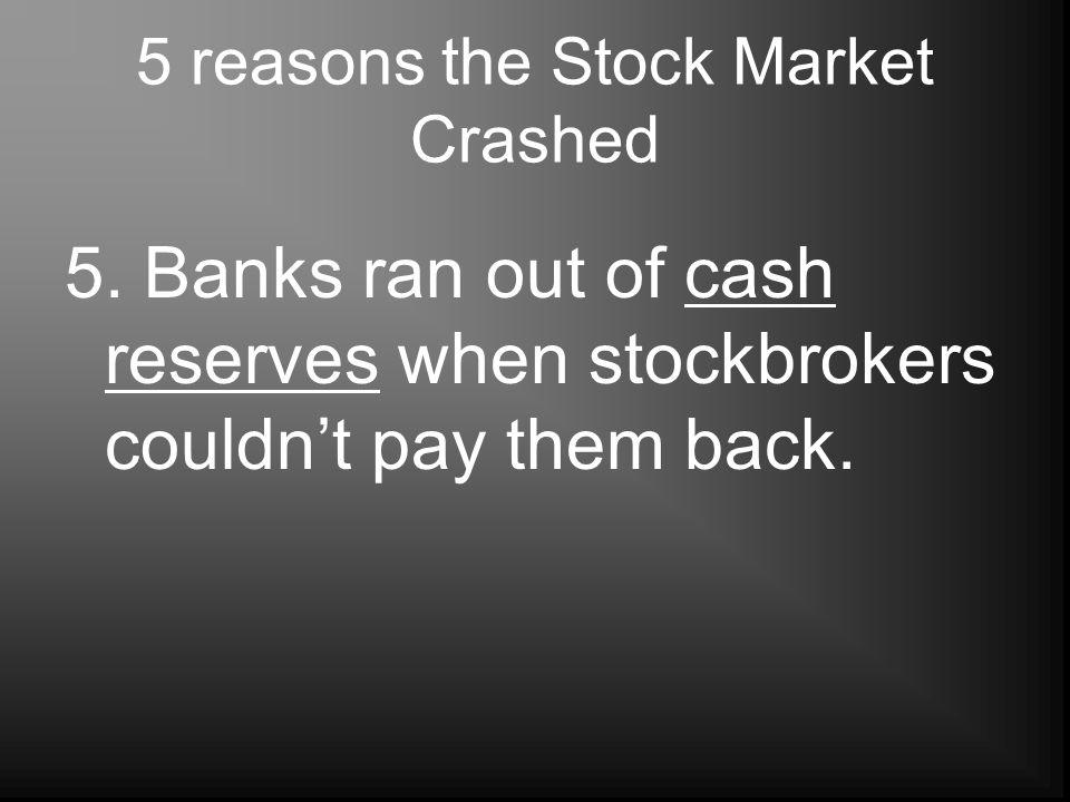 5 reasons the Stock Market Crashed