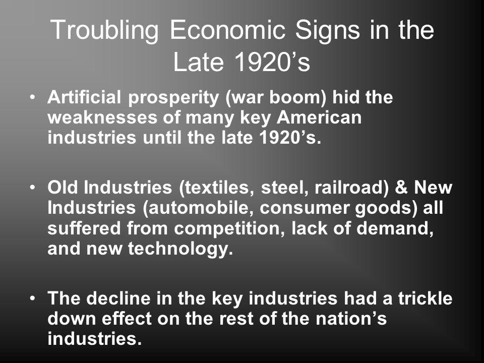 Troubling Economic Signs in the Late 1920's