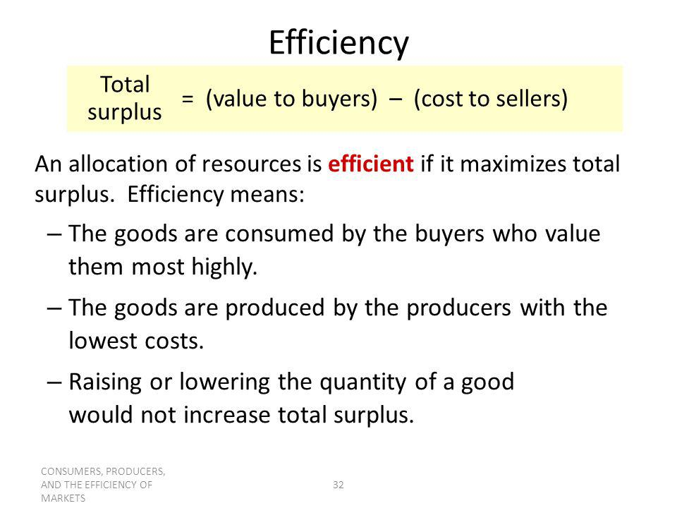 Efficiency = (value to buyers) – (cost to sellers) Total surplus.