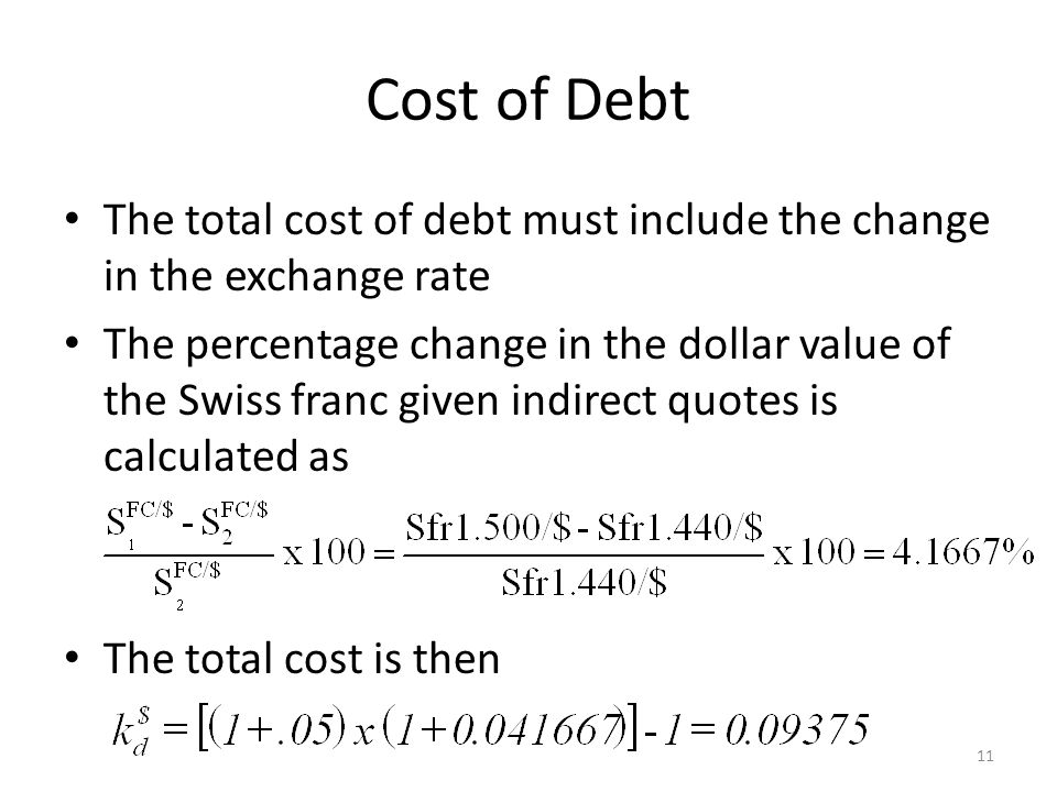 Cost of Debt The total cost of debt must include the change in the exchange rate.