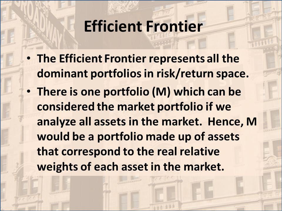 Efficient Frontier The Efficient Frontier represents all the dominant portfolios in risk/return space.