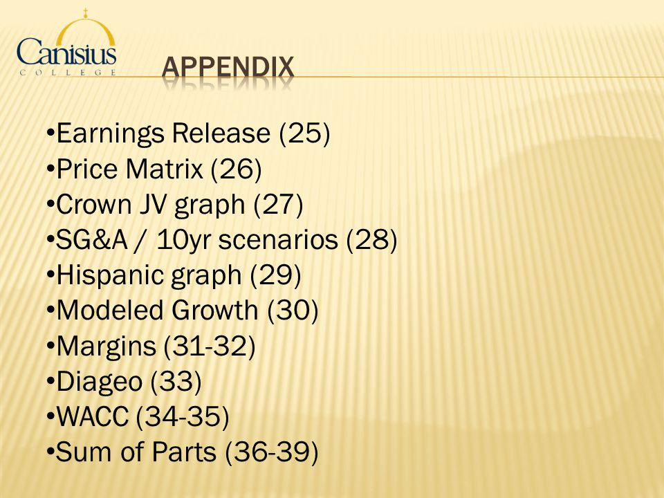 Appendix Earnings Release (25) Price Matrix (26) Crown JV graph (27)