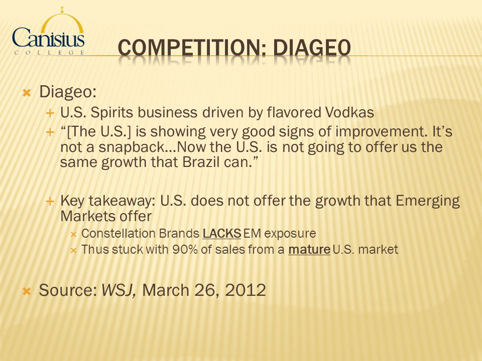 Competition: Diage0 Diageo: Source: WSJ, March 26, 2012