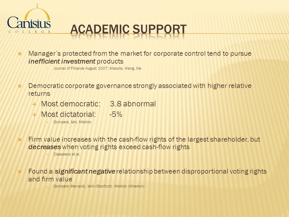 Academic Support Most democratic: 3.8 abnormal Most dictatorial: -5%
