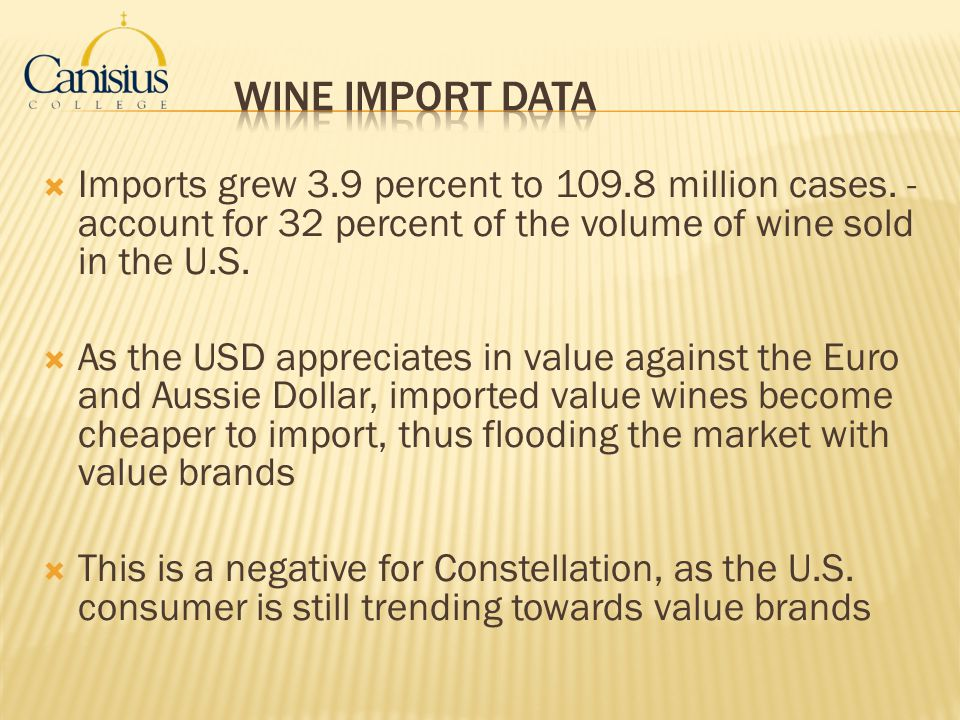 Wine Import Data Imports grew 3.9 percent to 109.8 million cases. - account for 32 percent of the volume of wine sold in the U.S.