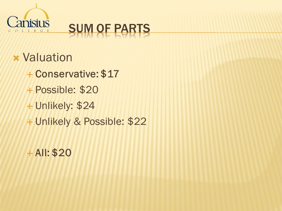 Sum of Parts Valuation Conservative: $17 Possible: $20 Unlikely: $24