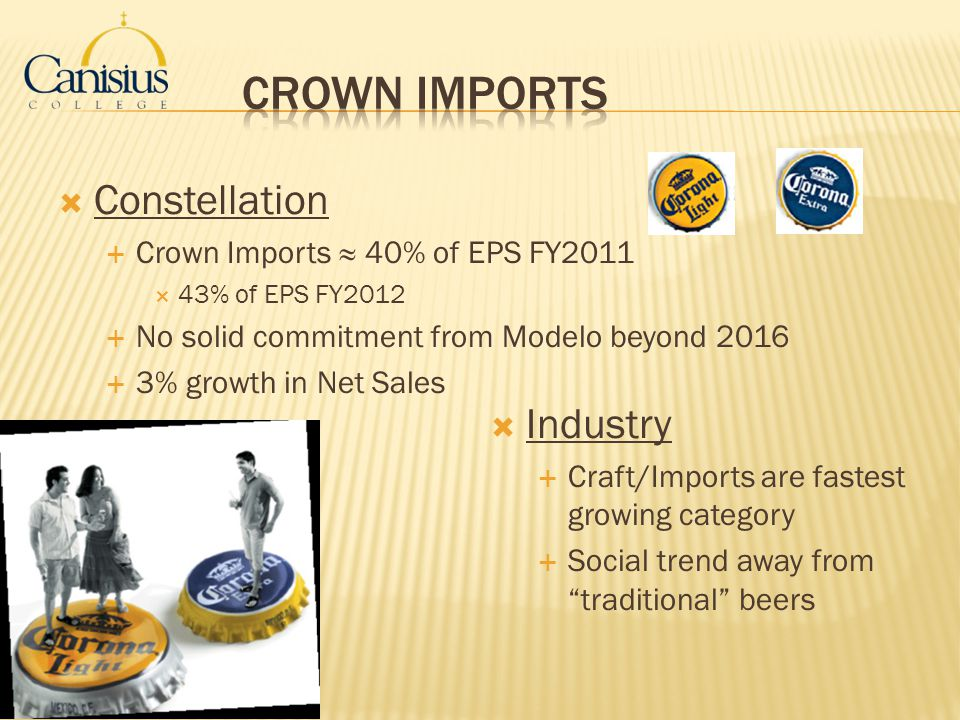 Crown Imports Constellation Industry Crown Imports ≈ 40% of EPS FY2011