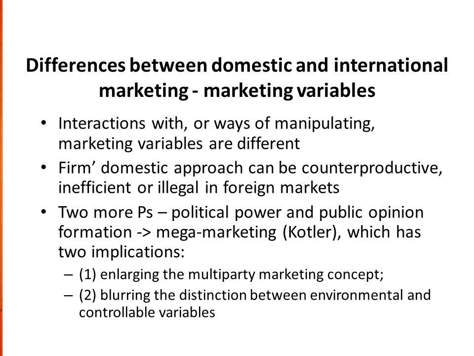 Differences between domestic and international marketing - marketing variables