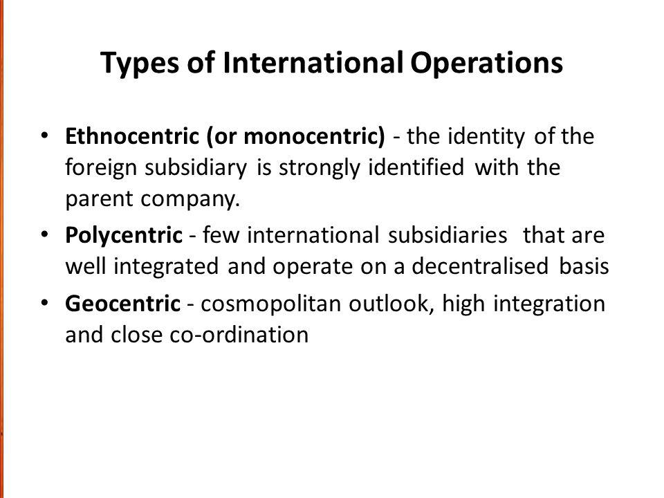 Types of International Operations