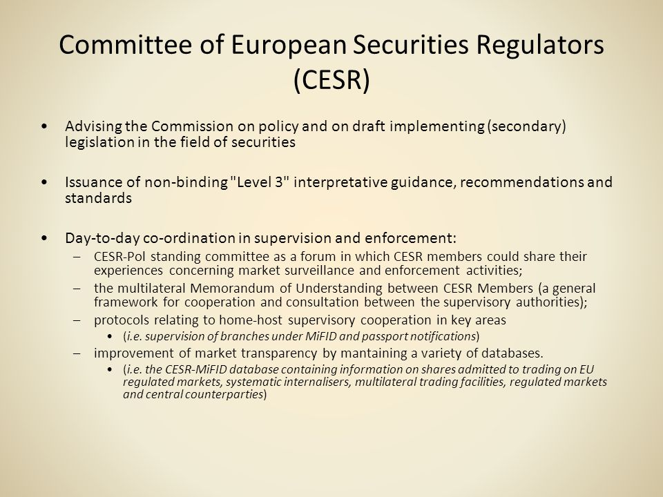 Committee of European Securities Regulators (CESR)